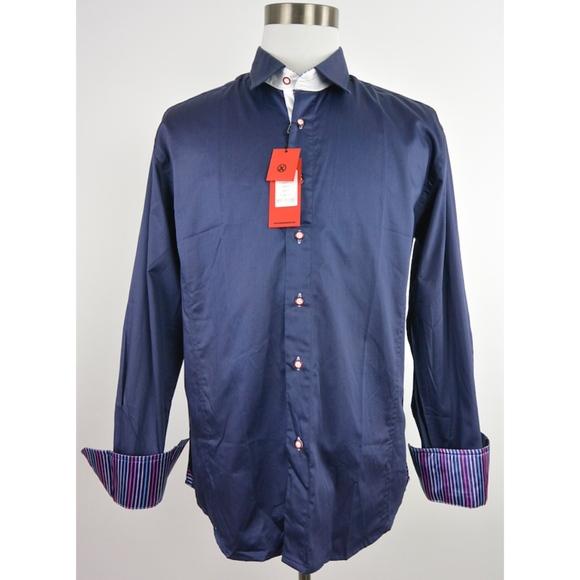 668c2de1de11a Bespoke Blue Flip Cuff Button Shirt XL  276